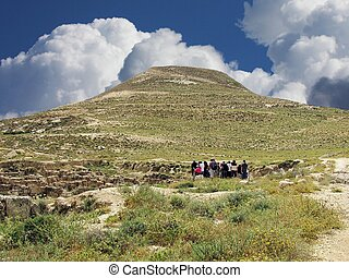 Herodium hill - Herodium or Herodion is a truncated cone-...