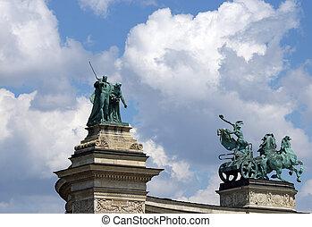 heroes', 廣場, 布達佩斯, 匈牙利, 界標