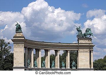 heroes', 廣場, 紀念碑, 布達佩斯, 匈牙利