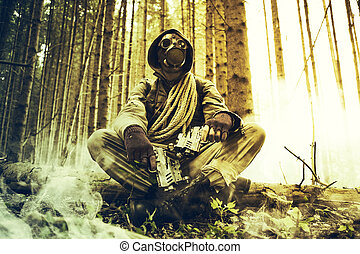 Heroes - Soldier wearing a gas mask with guns