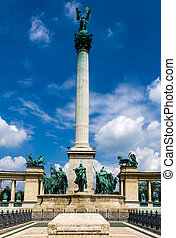 Heroes' Square column in Budapest - Heroes' Square is one of...