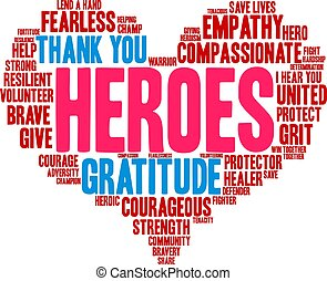 Heroes word cloud on a white background.