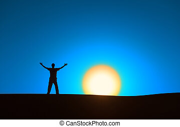 Heroic achievement by men - Man at blue background with big...