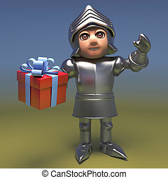 Heroic medieval knight in armour holding a gift wrapped present, 3d illustration