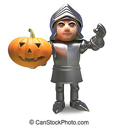 Heroic medieval knight in armour holding a Halloween pumpkin, 3d illustration