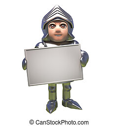 Heroic medieval knight in armour holds blank banner, 3d illustration