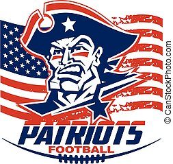 heroic patriots football player team design for school, college or league