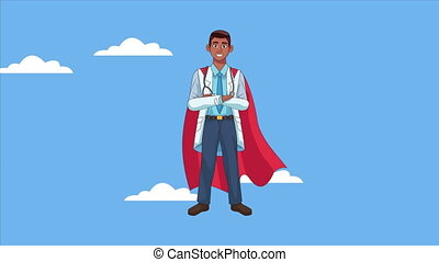 heroic super afro doctor character animated ,4k video ...