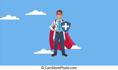 heroic super doctor with shield character animated ,4k video...