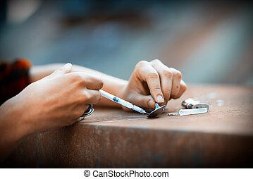 Heroin drug preparation with lighter