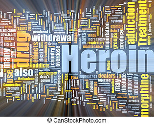 Heroin word cloud glowing - Word cloud concept illustration...