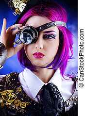 heroine movie - Girl in a stylized steampunk costume posing ...