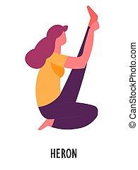 Heron asana, yoga pose, sport and fitness, meditation - Yoga...