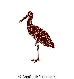 Heron bird color silhouette animal