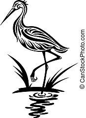 Heron bird in silhouette style for environment design