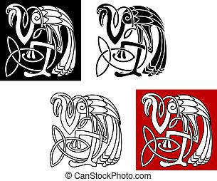 Heron bird in celtic style