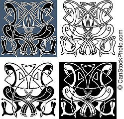 Heron birds with celtic knot patterns - Ornamental heron...