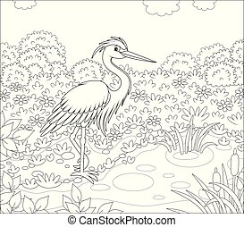 Wader standing by a pond among cane, grass and flowers of a meadow on a summer day, black and white vector illustration in a cartoon style for a coloring book