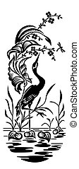 Heron graphic illustration - Black heron on white background...