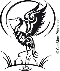 Heron in tribal style - Heron bird in tribal style for ...