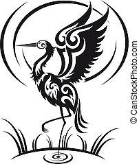 Heron in tribal style - Heron bird in tribal style for...