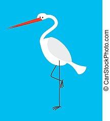 Heron isolated. Bird with long legs and beak
