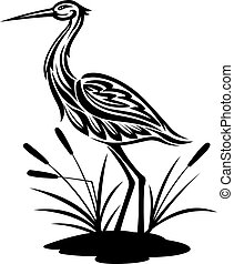 Heron on the bog landscape - Heron bird ion the bog...