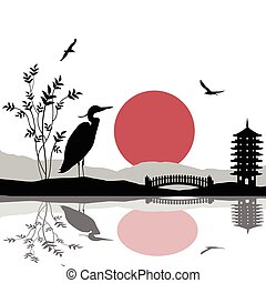 Heron silhouette on river at beautiful asian place on white, vector illustration