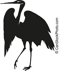 heron silhouette vector Illustration eps 10