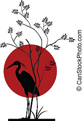 heron silhouette with giant moon - vector illustration of...