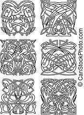 Heron, stork and crane celtic ornaments