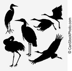 Heron, stork, egret, and crane silhouette - stork, heron,...