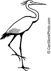 Heron - stylized vector drawing of a bird like a heron,...