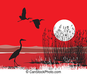 herons illustration on a red background of sky and water