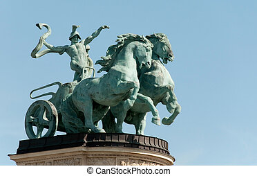 Hero's square Budapest,Hungary - Symbolic figure of war -...