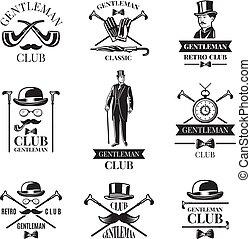 herr, club., vektor, abzeichen, satz
