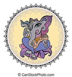 herr, hand, ganesha, illustration., gezeichnet