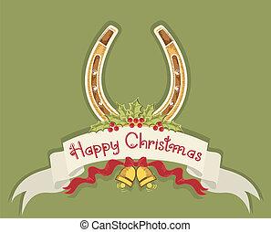 herradura, baya, plano de fondo, acebo, campanas de navidad