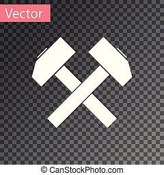 herramienta, aislado, ilustración, dos, fondo., vector, cruzado, blanco, repair., martillos, transparente, icono