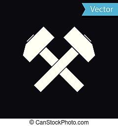 herramienta, aislado, ilustración, dos, fondo., vector, cruzado, negro, blanco, repair., martillos, icono
