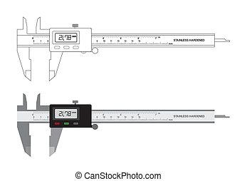 herramienta, calibrador, ilustración, vernier, vector, digital