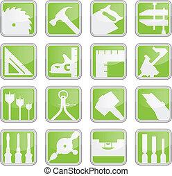 herramienta, carpintería, iconos