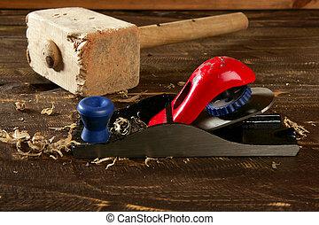 herramienta, carpintero, mano, madera, cepilladora, viruta