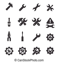 herramienta, conjunto, icono