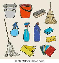 herramienta, conjunto, limpieza