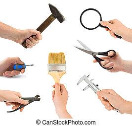 herramienta, conjunto, mano