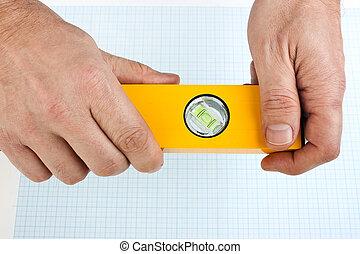 herramienta de edificio, en, el, manos