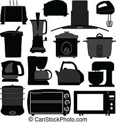 herramienta, electrónico, aparatos, cocina