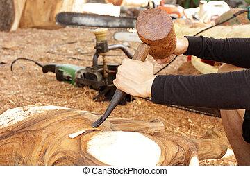 herramienta, madera, cincel,  gouge, carpintero
