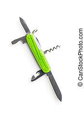 herramienta, multi, verde, cortaplumas